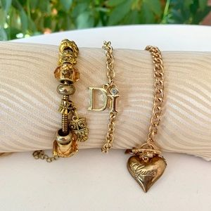 Charm Bracelets in Gold Tone - Set of 3